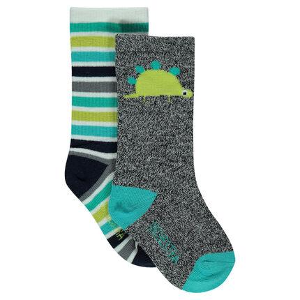 Juego de 2 pares de calcetines con dinosaurio y rayas de jacquard