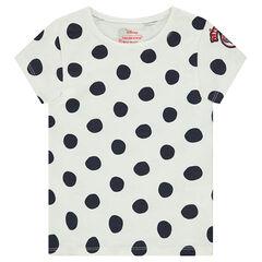 Camiseta de manga corta de lunares all-over con dibujo bordado