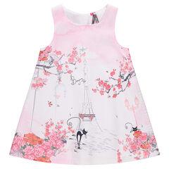 Vestido sin mangas con estampado de la torre Eiffel y flores