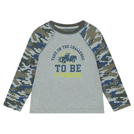 Camiseta de manga larga con estampado militar y dibujo por delante