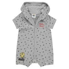 Combinación corta con capucha con letras all-over e insignia de ©Smiley