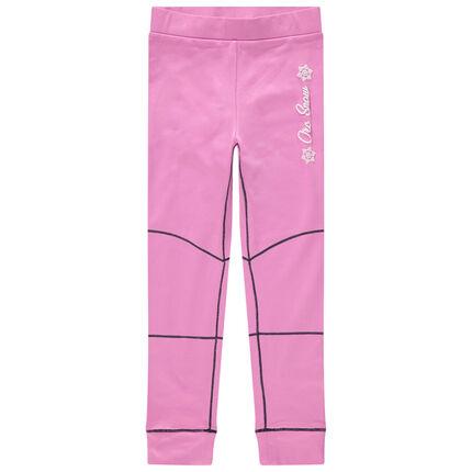 Leggings de esquí rosas con pespuntes en contraste