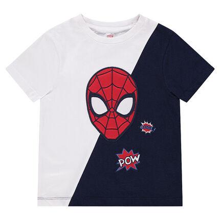 Camiseta de manga corta de punto bicolor con cabeza bordada ©Marvel Spiderman