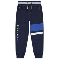 Pantalón de chándal de felpa con bandas estampadas y bolsillos con cremallera