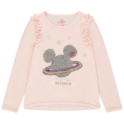 Camiseta de punto de manga larga con motivo de Minnie de lentejuelas mágicas