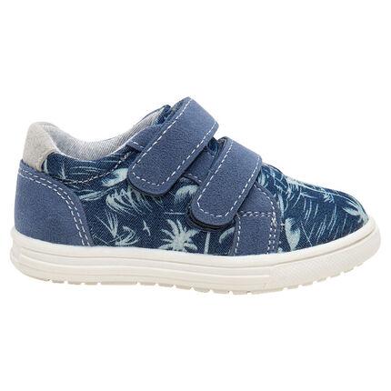 Zapatillas bajas con velcro y estampado vegetal