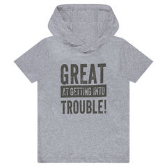 Júnior - Camiseta de manga corta con capucha e inscripciones estampadas