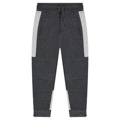 Pantalón de chándal de felpa bicolor con cortes