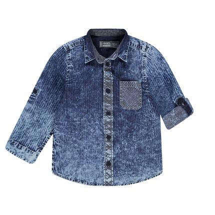 Camisa de manga larga con efecto vaquero lavado a rayas