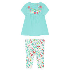 Conjunto con túnica de flores estampadas y leggings cortos estampado all over