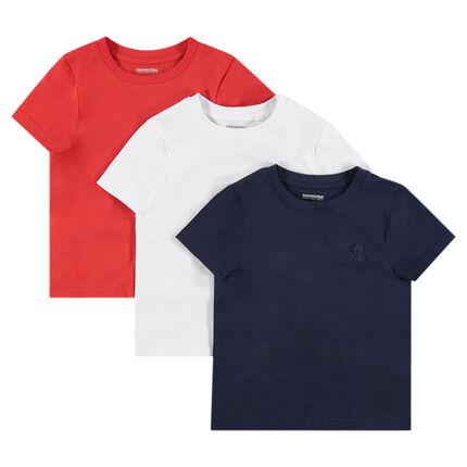 Juego de 3 camisetas de manga corta de punto con logo estampado