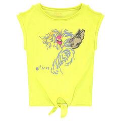 Júnior - Camiseta de manga corta con hombros calados y tigre estampado