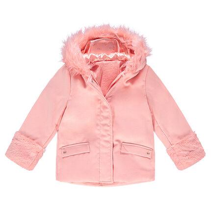 Abrigo con capucha de paño de lana con forro de borreguillo