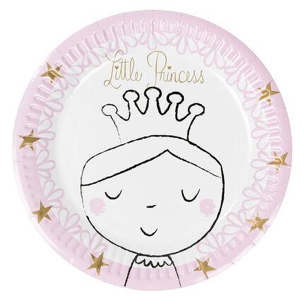Juego de 10 platos de cumpleaños de cartón con dibujo de princesa