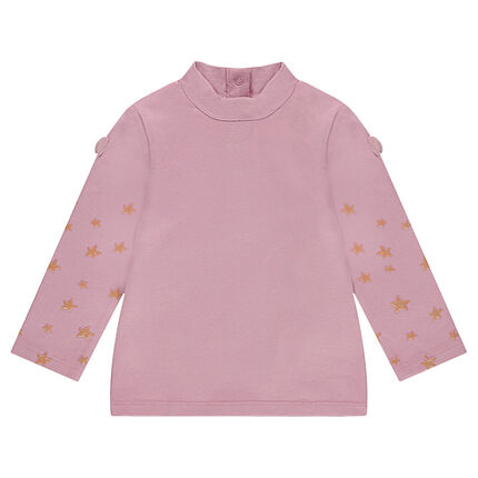 Camiseta de cuello alto con estampado de estrellas brillantes