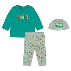 Pijama de punto y gorro a juego con parche de cocodrilo