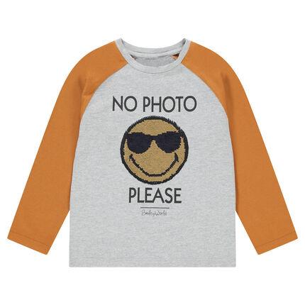 Camiseta de manga larga de punto bicolor con ©Smiley de lentejuelas mágicas