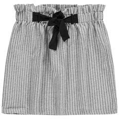 Júnior - Falda con talle alto elástico con finas rayas y cordones que se anudan