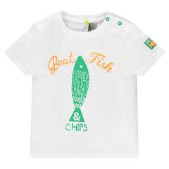 Camiseta de manga corta con pez estampado efecto gastado
