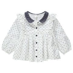 Camisa de manga larga con lunares all over y cuello babero