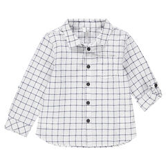 Camisa de cuadros all over con mangas que se pueden recoger