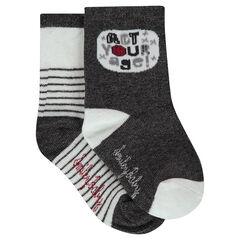 Juego de 2 pares de calcetines variados con rayas/dibujo de toro en jácquard