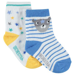 Juego de 2 pares de calcetines con rayas y estrellas de jacquard