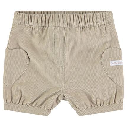 Pantalón corto de pana con bolsillos en forma de corazón