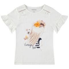 Camiseta de manga corta con volantes y princesa estampada con flor de relieve
