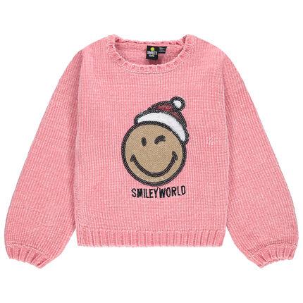 Jersey de punto de oruga con Smiley de lentejuelas con estilo navideño
