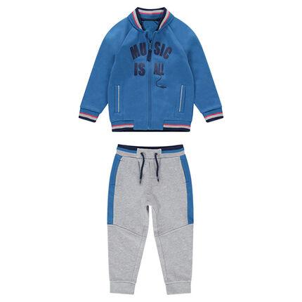 Chándal bicolor de felpa con chaqueta de estilo teddy y texto etampado