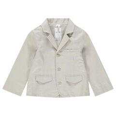 Americana de algodón y lino con bolsillos