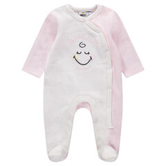 Pijama de terciopelo bicolor con Smiley Gilr bordada