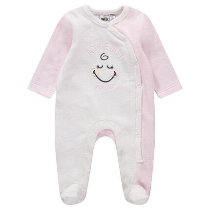 Pijama de terciopelo bicolor con Smiley Gilr bordada