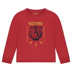 Júnior - Camiseta de punto de manga larga de punto con estampado de tigre