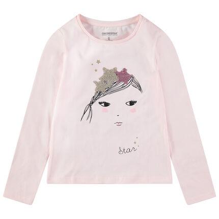 Camiseta de manga larga de punto con princesa y corona de lentejuelas mágicas