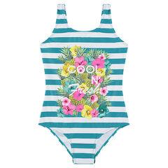 Bañador con estampado de flores y rayas