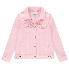 Júnior - Chaqueta vaquera rosa con perlas de fantasía