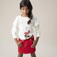Camiseta de punto con mangas con volantes y estampado de princesa con princesa de lentejuelas mágicas