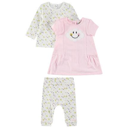 Conjunto con camiseta de manga larga, vestido rosa y legginghs estampado con ©Smiley