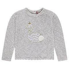 Jersey de punto asargado con cisne bordado y pompones