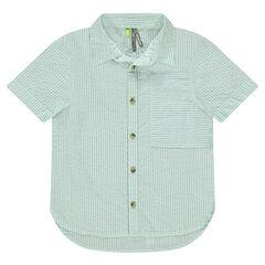 Camisa de manga corta de rayas con rayas finas