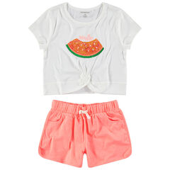 Júnior - Conjunto con sandía y lentejuelas y pantalón corto de punto jaspeado