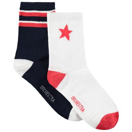 Juego de 2 pares de calcetines con estrella y bandas de jácquard