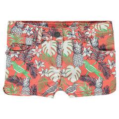 Pantalón corto de sarga con estampado tropical