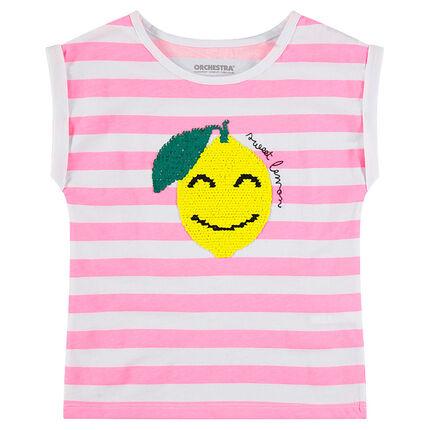 Camiseta de manga corta de punto de rayas y limón de lentejuelas mágicas