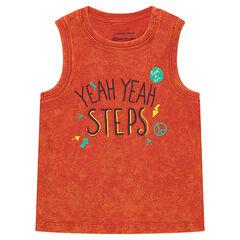 Camiseta teñida naranja con inscripción estampada