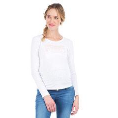 Camiseta de manga larga de premamá con inscripción iridescente