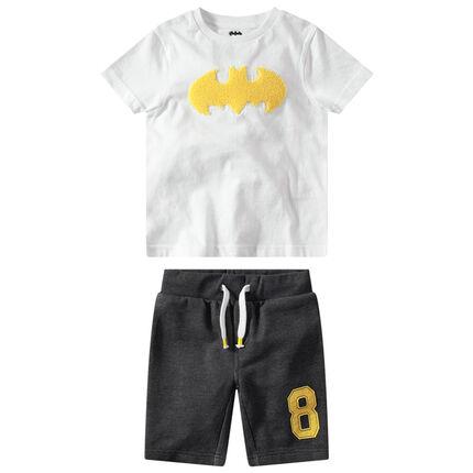 Conjunto de camiseta de manga corta y parche ©Warner Batman y bermudas grises