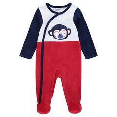 Pijama de terciopelo tricolor con mono estampado